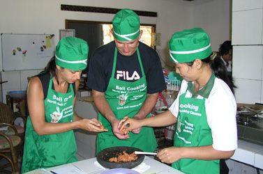 During a cooking class in Warung Bambu